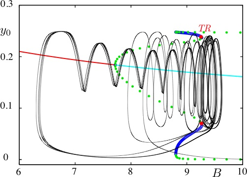 Figure 3. Torus canard orbit in the minimal Wendling-Chauvel model with slowly-varing dendritic inhibition. The orbit is projected onto the ((Y0;B) space and superimposed onto the bifurcation diagram of the fast subsystem (using slow-fast dissection). This plot is a zoom of Fig. 2 (a) in the region of low-voltage fast oscillations at seizure onset. The point TR indicates the location of the torus bifurcation of the full system, which lies very close to the fold of cycles bifurcation points of the fast subsystem as expected in a torus canard phenomenon (Burke et al, 2012).
